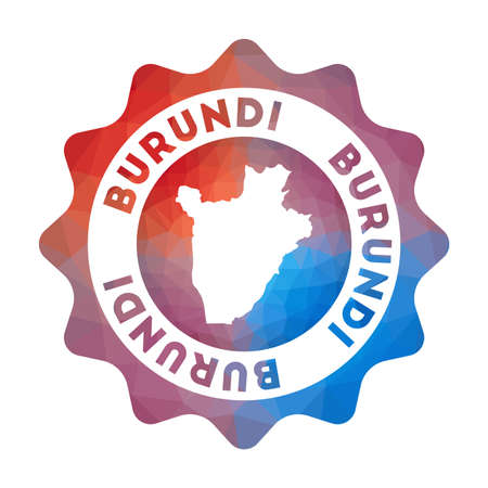 Burundi low poly of the country in geometric style. Multicolored polygonal Burundi rounded sign with map for your infographics.