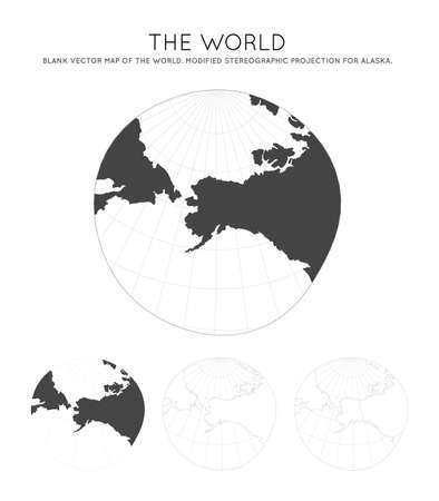 Map of The World. Modified stereographic projection for Alaska. Globe with latitude and longitude lines. World map on meridians and parallels background. Vector illustration. Иллюстрация