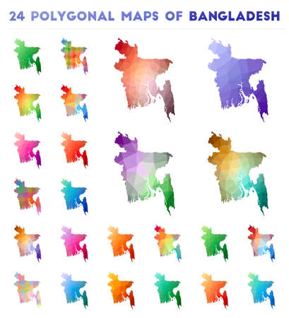 Set of vector polygonal maps of Bangladesh. Bright gradient map of country in low poly style. Multicolored Bangladesh map in geometric style for your infographics.