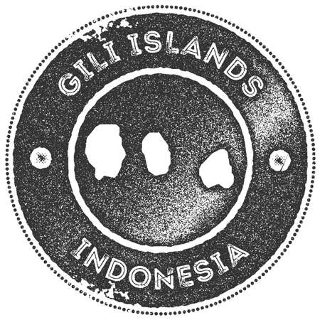 Gili Islands map vintage stamp. Retro style handmade label, badge or element for travel souvenirs. Dark grey rubber stamp with island map silhouette. Vector illustration.