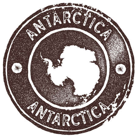 Antarctica map vintage stamp. Retro style handmade label, badge or element for travel souvenirs. Brown rubber stamp with country map silhouette. Vector illustration.