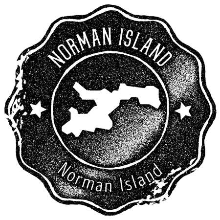 Norman Island map vintage stamp. Retro style handmade label, badge or element for travel souvenirs. Black rubber stamp with island map silhouette. Vector illustration. Ilustrace