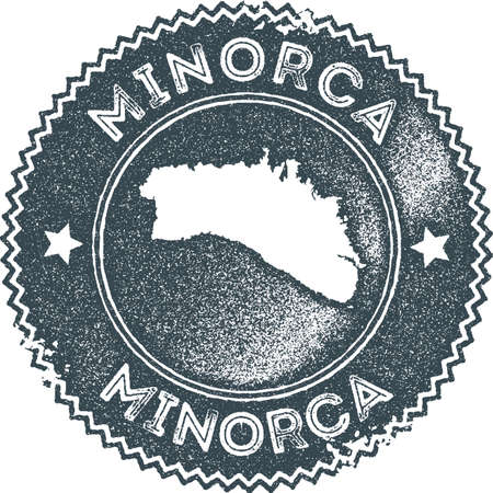 Minorca map vintage stamp. Retro style handmade label, badge or element for travel souvenirs. Dark blue rubber stamp with island map silhouette. Vector illustration. Ilustrace