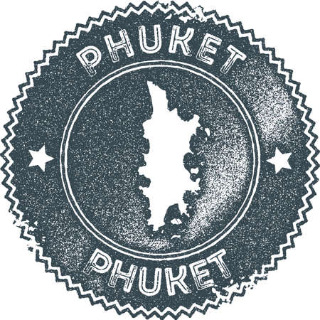 Phuket map vintage stamp. Retro style handmade label, badge or element for travel souvenirs. Dark blue rubber stamp with island map silhouette. Vector illustration.