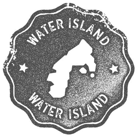 Water Island map vintage stamp. Retro style handmade label, badge or element for travel souvenirs. Grey rubber stamp with island map silhouette. Vector illustration. Ilustrace