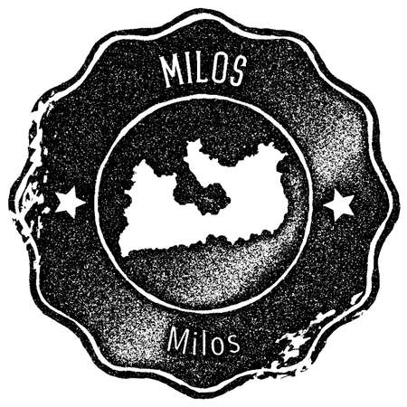 Milos map vintage stamp. Retro style handmade label, badge or element for travel souvenirs. Black rubber stamp with island map silhouette. Vector illustration.