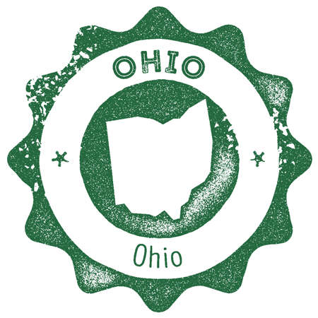 Ohio map vintage stamp. Retro style handmade label, badge or element for travel souvenirs. Dark green rubber stamp with us state map silhouette. Vector illustration. Ilustrace