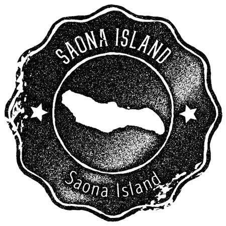 Saona Island map vintage stamp. Retro style handmade label, badge or element for travel souvenirs. Black rubber stamp with island map silhouette. Vector illustration.