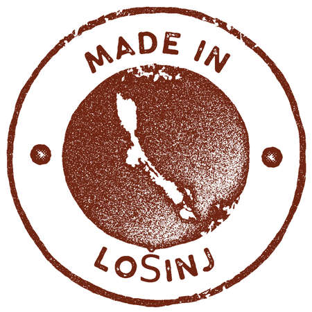 Losinj map vintage stamp. Retro style handmade label, badge or element for travel souvenirs. Red rubber stamp with island map silhouette. Vector illustration.