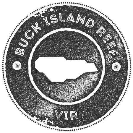 Buck Island Reef map vintage stamp. Retro style handmade label, badge or element for travel souvenirs. Dark grey rubber stamp with island map silhouette. Vector illustration. Ilustrace