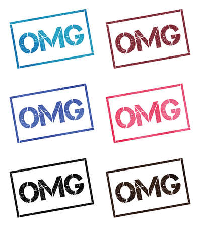 Omg rectangular stamp collection. Textured seals with text isolated on white backgound. Stamps in turquoise, red, blue, black and sepia colors. Colourful watercolor style vector illustration.