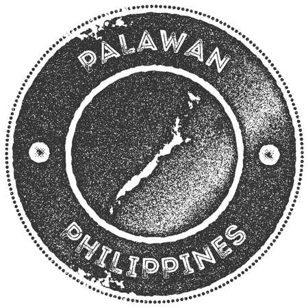 Palawan map vintage stamp. Retro style handmade label, badge or element for travel souvenirs. Dark grey rubber stamp with island map silhouette. Vector illustration.