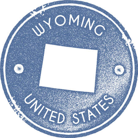 Wyoming map vintage stamp. Retro style handmade label, badge or element for travel souvenirs. Light blue rubber stamp with us state map silhouette. Vector illustration.