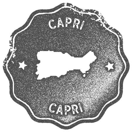 Capri map vintage stamp. Retro style handmade label, badge or element for travel souvenirs. Grey rubber stamp with island map silhouette. Vector illustration.
