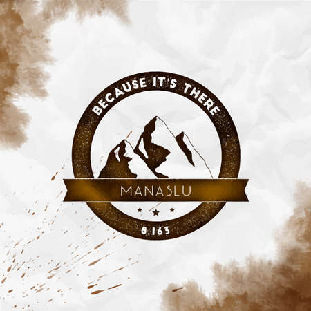Manaslu   Round climbing sepia vector insignia. Manaslu in Himalayas, Nepal outdoor adventure illustration. Climbing, trekking, hiking, mountaineering and other extreme activities watercolor