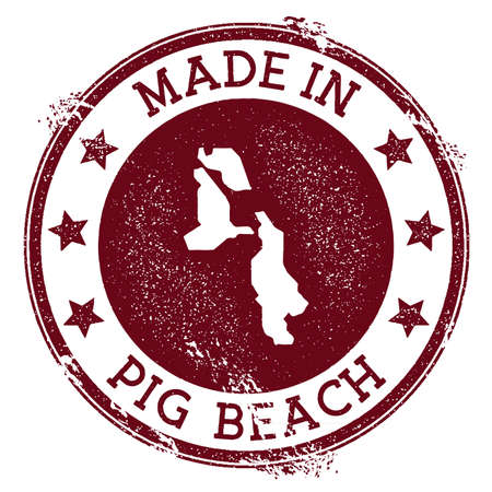 Made in Pig Beach stamp. Grunge rubber stamp with Made in Pig Beach text and island map. Adorable vector illustration.