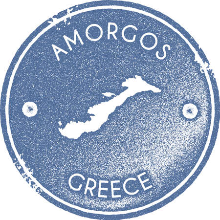 Amorgos map vintage stamp. Retro style handmade label, badge or element for travel souvenirs. Light blue rubber stamp with island map silhouette. Vector illustration.