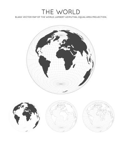 Map of The World. Lambert azimuthal equal-area projection. Globe with latitude and longitude lines. World map on meridians and parallels background. Vector illustration.