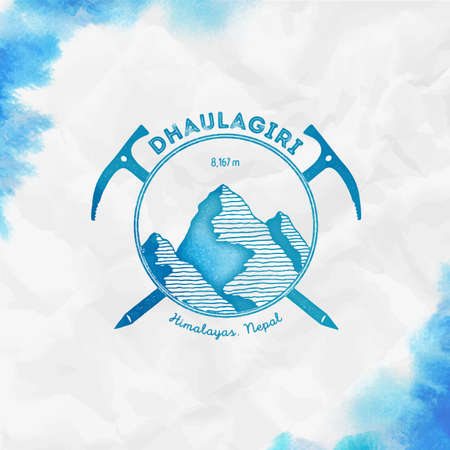 Dhaulagiri Climbing mountain turquoise vector insignia. Dhaulagiri in Himalayas, Nepal outdoor adventure illustration. Stock Illustratie