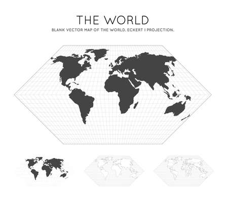 Map of The World. Eckert I projection. Globe with latitude and longitude lines. World map on meridians and parallels background. Vector illustration.