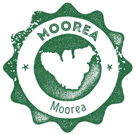 Moorea map vintage stamp. Retro style handmade label, badge or element for travel souvenirs. Dark green rubber stamp with island map silhouette. Vector illustration.