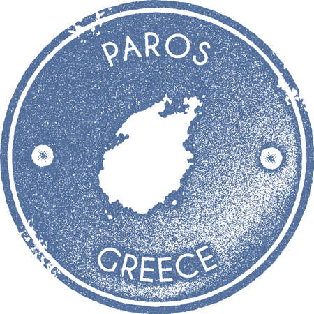 Paros map vintage stamp. Retro style handmade label, badge or element for travel souvenirs. Light blue rubber stamp with island map silhouette. Vector illustration.
