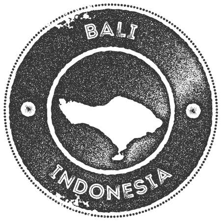 Bali map vintage stamp. Retro style handmade label, badge or element for travel souvenirs. Dark grey rubber stamp with island map silhouette. Vector illustration.