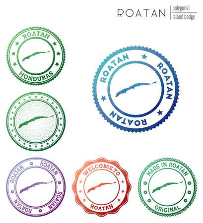 Roatan badge. Colorful polygonal island symbol. Multicolored geometric Roatan logos set. Vector illustration.