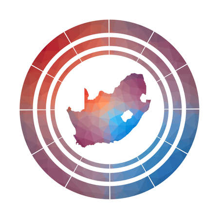 South Africa badge. Bright gradient  of country in low poly style. Multicolored South Africa rounded sign with map in geometric style for your infographics.