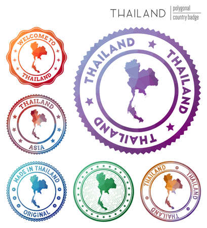 Thailand badge. Colorful polygonal country symbol. Multicolored geometric Thailand  set. Vector illustration.