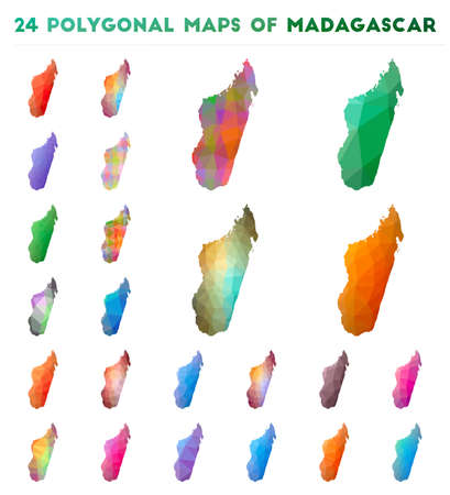 Set of vector polygonal maps of Madagascar. Bright gradient map of country in low poly style. Multicolored Madagascar map in geometric style for your infographics.