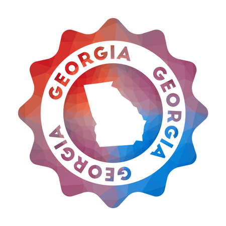 Georgia low poly   in geometric style. Multicolored polygonal Georgia rounded sign with map for your infographics.