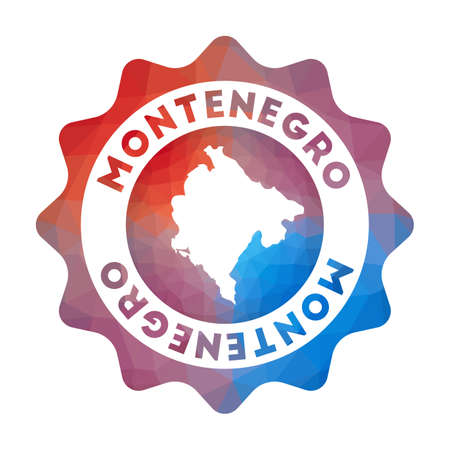 Montenegro low poly  in geometric style. Multicolored polygonal Montenegro rounded sign with map for your infographics.  イラスト・ベクター素材