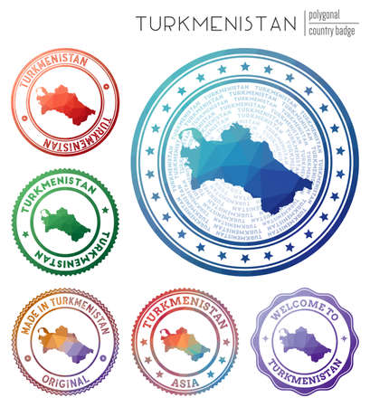 Turkmenistan badge. Colorful polygonal country symbol. Multicolored geometric Turkmenistan  set. Vector illustration.