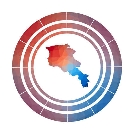 Armenia badge. Bright gradient   of country in low poly style. Multicolored Armenia rounded sign with map in geometric style for your infographics.