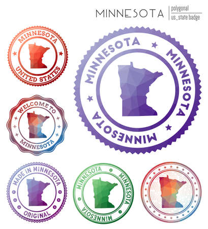 Minnesota badge. Colorful polygonal us state symbol. Multicolored geometric Minnesota  set. Vector illustration.