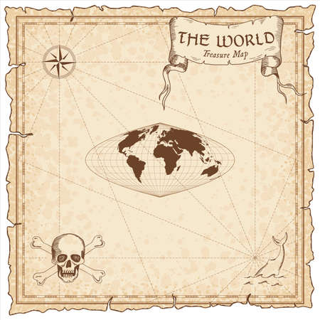 World treasure map. Pirate navigation atlas. Craster parabolic projection. Old map vector.