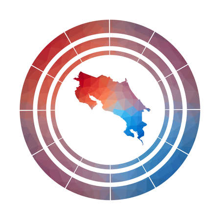 Costa Rica badge. Bright gradient  of country in low poly style. Multicolored Costa Rica rounded sign with map in geometric style for your infographics.