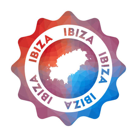 Ibiza low poly   in geometric style. Multicolored polygonal Ibiza rounded sign with map for your infographics.