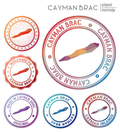 Cayman Brac badge. Colorful polygonal island symbol. Multicolored geometric Cayman Brac  set. Vector illustration.