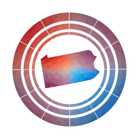 Pennsylvania badge. Bright gradient of us state in low poly style. Multicolored Pennsylvania rounded sign with map in geometric style for your infographics.