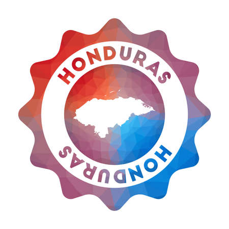 Honduras low poly  in geometric style. Multicolored polygonal Honduras rounded sign with map for your infographics. Иллюстрация