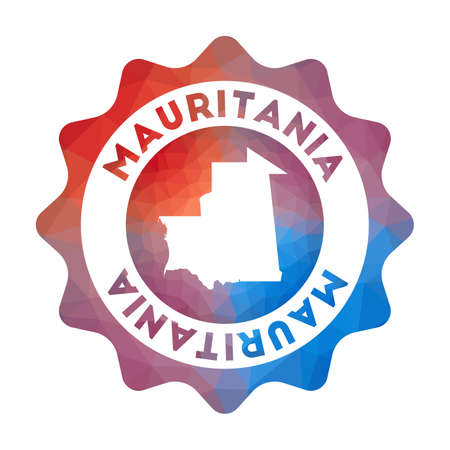 Mauritania low poly   in geometric style. Multicolored polygonal Mauritania rounded sign with map for your infographics.