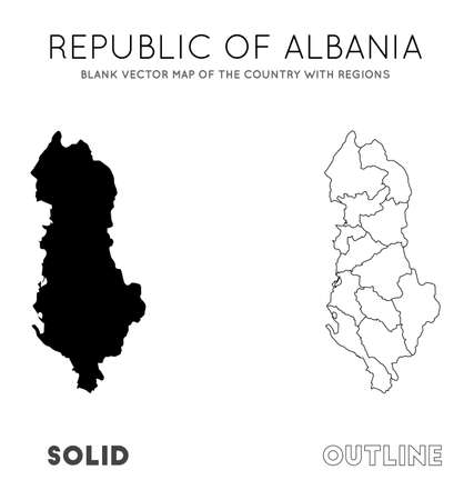 Albania map. Blank vector map of the Country with regions. Borders of Albania for your infographic. Vector illustration.