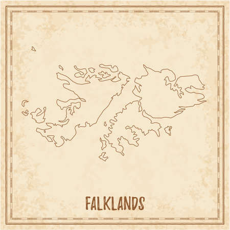 Pirate map of Falklands. Blank vector map of the Country. Vector illustration.