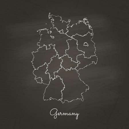Germany region map: hand drawn with white chalk on school blackboard texture. Vector illustration.