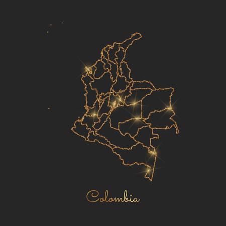 Colombia region map: golden glitter outline with sparkling stars on dark background. Vector illustration. Иллюстрация