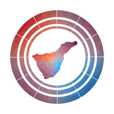 Tenerife badge. Bright gradient  of island in low poly style. Multicolored Tenerife rounded sign with map in geometric style for your infographics.  イラスト・ベクター素材