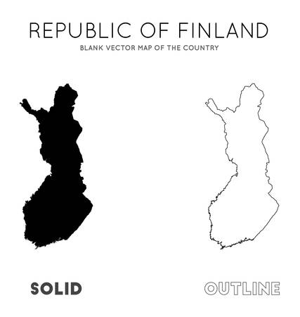 Finland map. Blank vector map of the Country. Borders of Finland for your infographic. Vector illustration.
