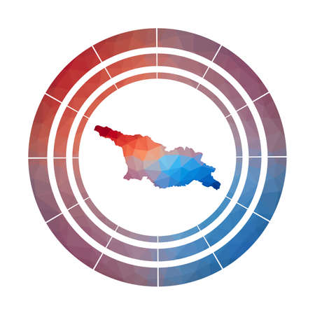 Georgia badge. Bright gradient  of country in low poly style. Multicolored Georgia rounded sign with map in geometric style for your infographics.  イラスト・ベクター素材
